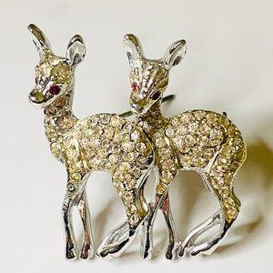Vintage Capri Rhinestone Deer Brooch Pin